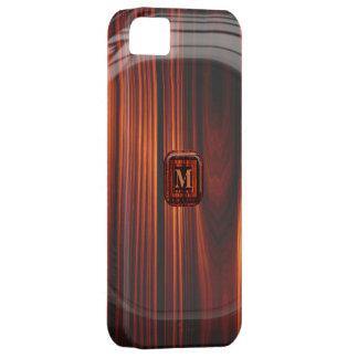 Añada la caja de madera barnizada fresca inicial iPhone 5 funda