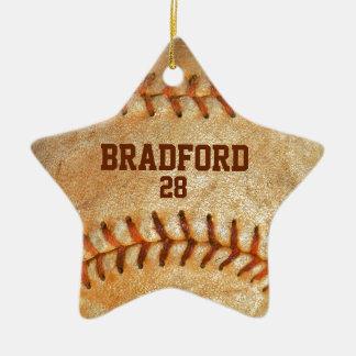 añada la costura roja del béisbol blanco conocido adorno navideño de cerámica en forma de estrella