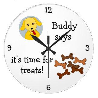 Añada la foto de su mascota: 'Hora para las invita Reloj Redondo Grande