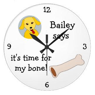 Añada la foto de su perro: 'Hora para mi Bone Reloj Redondo Grande