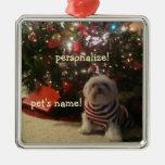 Añada la foto del mascota/el ornamento del árbol adorno navideño cuadrado de metal