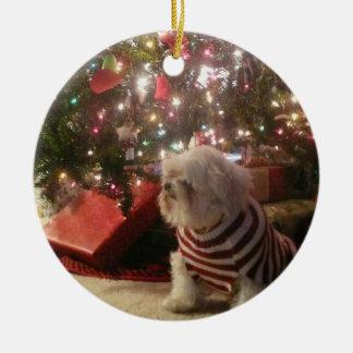 Añada la foto del mascota/el ornamento del árbol adorno navideño redondo de cerámica