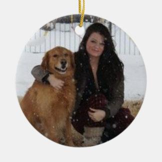 Añada la foto del mascota/el ornamento del árbol adorno redondo de cerámica