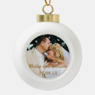 Añada la foto u otras del boda ornamento del adorno de cerámica en forma de bola