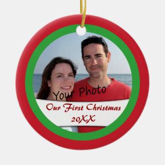 Añada la foto y el año a nuestro primer ornamento  adorno para reyes