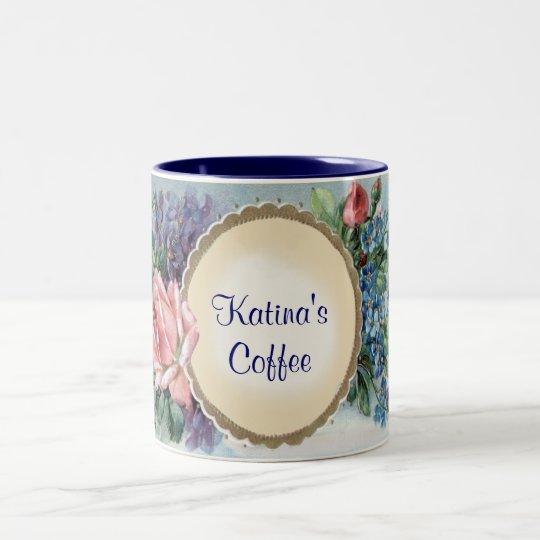 Añada la taza de café del vintage de los rosas del