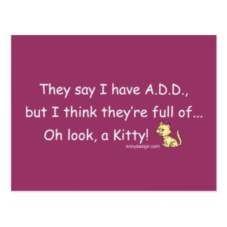 AÑADA por completo de humor del gatito Postales