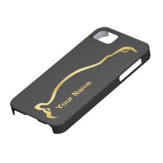 añada silueta del oro del STI Impreza de su nombr iPhone 5 Carcasa