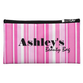 Añada su bolso rayado conocido, rosado de la