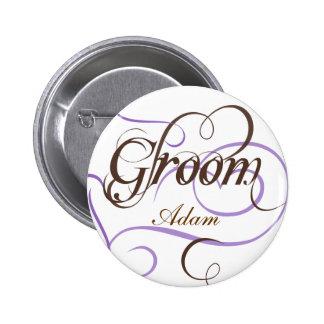 Añada su botón conocido del boda del novio pin redondo de 2 pulgadas