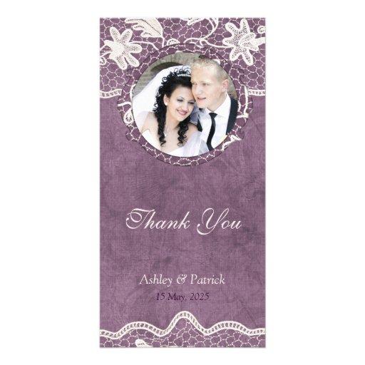 Añada su cordón elegante de la foto en el fondo tarjetas fotográficas personalizadas