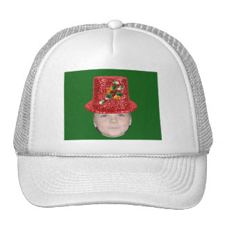 Añada su foto a un gorra del navidad del bastón de