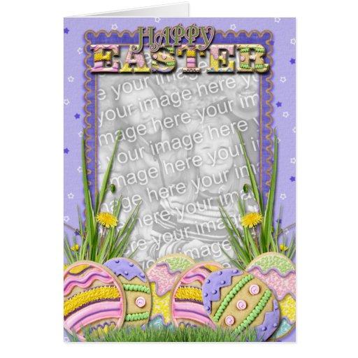 AÑADA SU FOTO - galletas del huevo de Pascua Felicitación