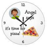 Añada su foto: 'Hora para Pizza Reloj De Pared
