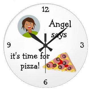 Añada su foto: 'Hora para Pizza Reloj Redondo Grande