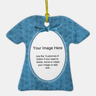 Añada su foto - plantilla del óvalo de la felpilla adorno de cerámica en forma de camiseta