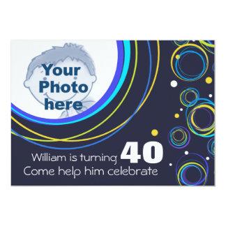"""Añada su foto que el 40.o cumpleaños enrrollado invitación 5"""" x 7"""""""