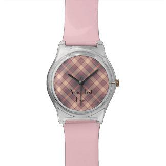 Añada su imagen, su texto, tela escocesa de relojes de mano
