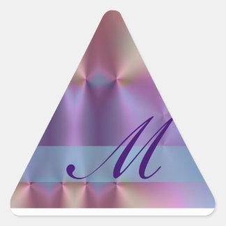 Añada su letra - monograma colorido pegatina triangular