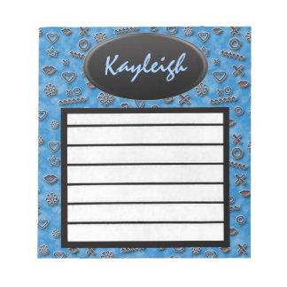 Añada su libreta azul conocida del diseñador blocs