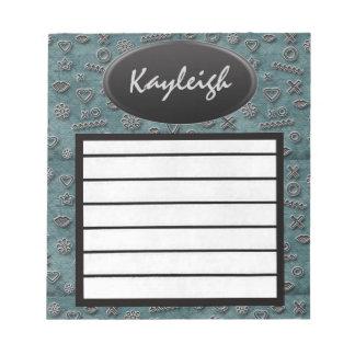 Añada su libreta azul conocida del diseñador blocs de papel