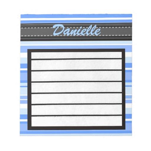 Añada su libreta conocida de las rayas azules bloc