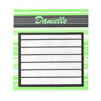 Añada su libreta conocida de las rayas del verde blocs de papel