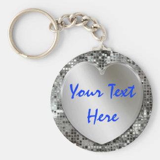 Añada su llavero del corazón de la plata del texto