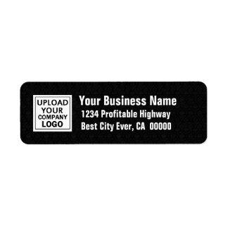 Añada su logotipo del negocio blanco y negro etiqueta de remite