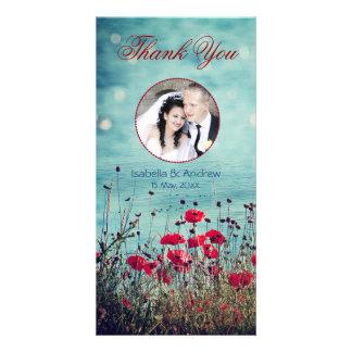 Añada su mar de la foto del amor le agradecen tarjeta con foto personalizada