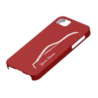 """""""añada su"""" Nissan conocido 370z en fondo rojo iPhone 5 Carcasas"""