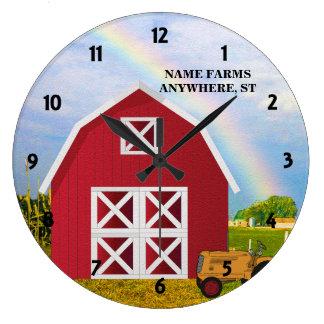 Añada su nombre al granero rojo con el cielo azul reloj redondo grande