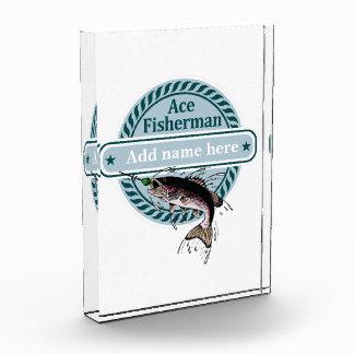 (Añada su nombre) insignia ADAPTABLE del pescador