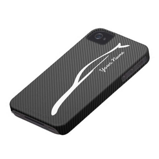Añada su nombre - silueta del blanco del cupé G35 iPhone 4 Case-Mate Cobertura