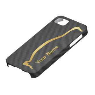Añada su nombre - silueta del oro de Mitsubishi EV iPhone 5 Case-Mate Cárcasas