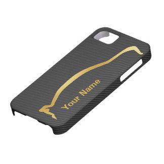 Añada su nombre - silueta del oro de Mitsubishi iPhone 5 Carcasas