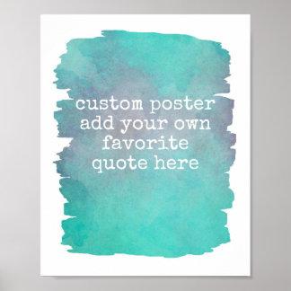 añada su propia acuarela del azul del trullo del póster