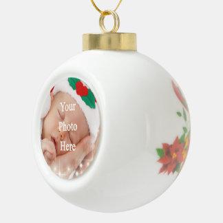 Añada su propia foto adorno de cerámica en forma de bola