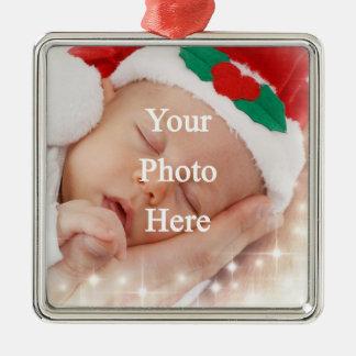 añada su propia foto adorno navideño cuadrado de metal