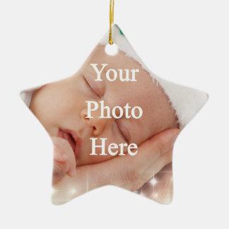 Añada su propia foto adorno navideño de cerámica en forma de estrella