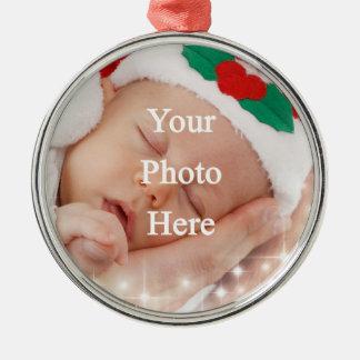 Añada su propia foto adorno navideño redondo de metal