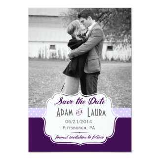 """Añada su propia reserva de la foto la púrpura de invitación 5"""" x 7"""""""