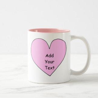 Añada su propia taza del corazón del texto