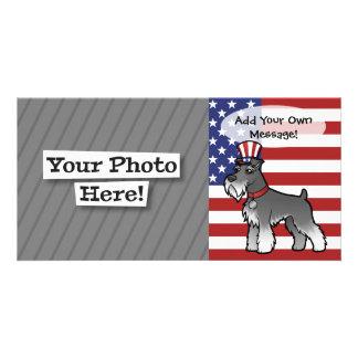 Añada su propio mascota y bandera tarjetas personales