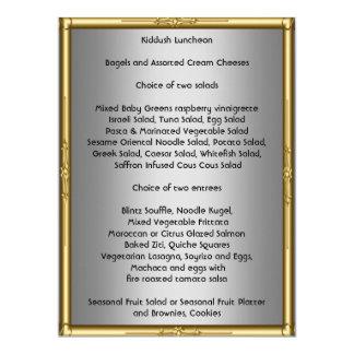 Añada su propio menú de Kiddush para el palo Invitación 16,5 X 22,2 Cm