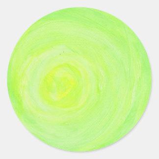 Añada su propio texto - resplandor verde pegatina redonda