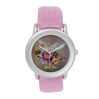 Añada su reloj del brillo del rosa del texto