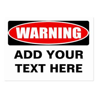 Añada su señal de peligro personalizada tarjetas de visita grandes