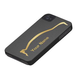 """""""añada su"""" silueta conocida del oro de la iPhone 4 carcasa"""