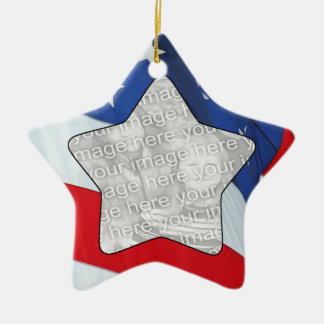 Añada sus estrellas de la foto y ornamento de las adorno de cerámica en forma de estrella